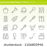 kitchenware thin line icons set.... | Shutterstock .eps vector #1106803946