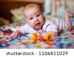 a little baby on the blanket | Shutterstock . vector #1106811029