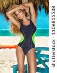 beautiful sexy woman  surfer... | Shutterstock . vector #1106815538