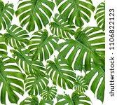 seamless pattern of green palm... | Shutterstock . vector #1106822123