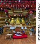 Small photo of GYEONGSANG, SOUTH KOREA - MAY 13, 2018 : Golden principle Buddha images in Main hall of Gujoel Pokpoam hermitage in Oegok city, Gyeongsang Province, South Korea.
