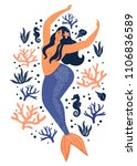 under the sea card with mermaid ...   Shutterstock .eps vector #1106836589