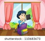 illustration of a boy in a bag...