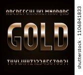 gold alphabet font. beveled... | Shutterstock .eps vector #1106841833
