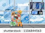 international airport concept.... | Shutterstock .eps vector #1106844563