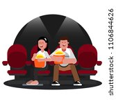 friends watching movie | Shutterstock .eps vector #1106844626