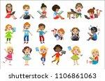 kids with gadgets set   Shutterstock .eps vector #1106861063