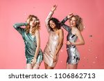 three beautiful excited women...   Shutterstock . vector #1106862713