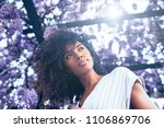 young black woman surrounded by ... | Shutterstock . vector #1106869706