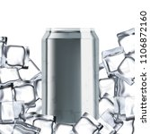 cold drink can in ice on white... | Shutterstock . vector #1106872160