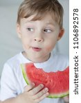 a small cute boy 4 years old is ... | Shutterstock . vector #1106892578
