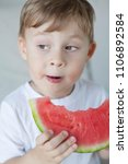 a small cute boy 4 years old is ... | Shutterstock . vector #1106892584