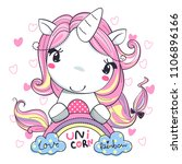 cute cartoon unicorn girl in... | Shutterstock .eps vector #1106896166