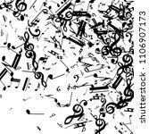 black musical notes on white... | Shutterstock .eps vector #1106907173