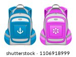 backpack pink and blue on a... | Shutterstock .eps vector #1106918999