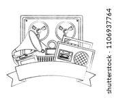 reel to reel tape recorder...   Shutterstock .eps vector #1106937764