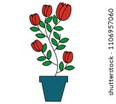 house plant in pot isolated icon