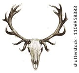 deer skull. watercolor... | Shutterstock . vector #1106958383