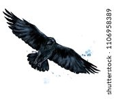 raven. watercolor illustration. | Shutterstock . vector #1106958389