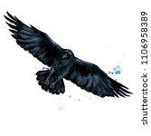 raven. watercolor illustration.   Shutterstock . vector #1106958389