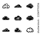 cloudiness icons set. simple...   Shutterstock .eps vector #1106970356