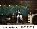 scientist hipster with... | Shutterstock . vector #1106973359