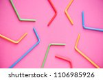 drinking straws on pink... | Shutterstock . vector #1106985926
