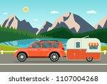 car and trailers caravan.... | Shutterstock .eps vector #1107004268