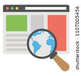 magnifier over world wide web  ... | Shutterstock .eps vector #1107005456