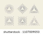 set of vintage sunbursts in... | Shutterstock .eps vector #1107009053