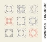 set of vintage square sunbursts.... | Shutterstock .eps vector #1107009080