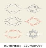 set of vintage sunbursts in... | Shutterstock .eps vector #1107009089