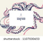 seafood banner set. hand drawn... | Shutterstock .eps vector #1107030653