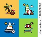 set of beach icons. vector... | Shutterstock .eps vector #1107030788