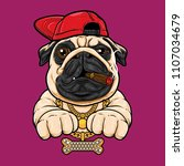 pug dog with hiphop style | Shutterstock .eps vector #1107034679