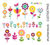 flat flower. colorful spring... | Shutterstock .eps vector #1107037943