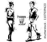 vector woman and man models... | Shutterstock .eps vector #1107039623
