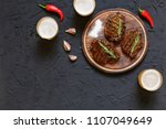 top view of tasty barbecue... | Shutterstock . vector #1107049649