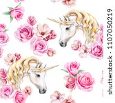 Stock photo unicorn with golden mane and flower wreath isolated on white background seamless pattern 1107050219