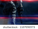special forces soldier with... | Shutterstock . vector #1107050573