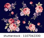bouquet roses pattern isolated... | Shutterstock .eps vector #1107062330