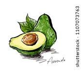 ripe avocado in a cut. | Shutterstock .eps vector #1107073763