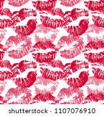 seamless pattern with lipstick... | Shutterstock .eps vector #1107076910