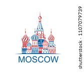 illustration of moscow saint... | Shutterstock .eps vector #1107079739