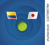 colombia vs japan flags... | Shutterstock .eps vector #1107085784
