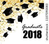 graduate caps on the gold... | Shutterstock .eps vector #1107090083
