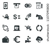 black vector icon set bitcoin... | Shutterstock .eps vector #1107090800
