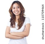 happy asian young woman on... | Shutterstock . vector #110709464