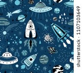 space background for kids.... | Shutterstock .eps vector #1107103649