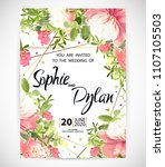wedding floral template invite  ... | Shutterstock .eps vector #1107105503